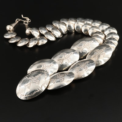 Southwestern Style Sterling Puff Oval Necklace