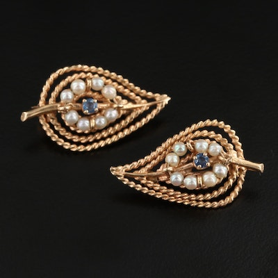 Circa 1955 14K Yellow Gold Sapphire and Seed Pearl Leaf Brooches