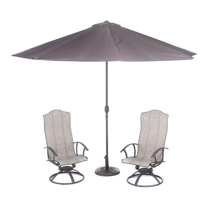 Metal Patio Armchairs and Outdoor Umbrella