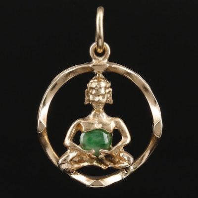 14K Yellow Gold Jadeite Buddha Pendant