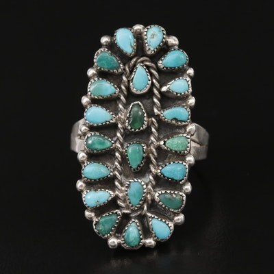 Southwestern Style Sterling Silver Turquoise Petit Point Ring