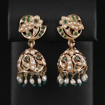 Vintage 14K Yellow Gold Emerald and Seed Pearl Chandelier Earrings