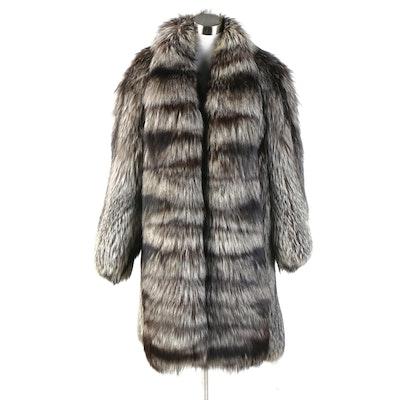 Silver Fox Fur Coat with Wide Band Tuxedo Collar