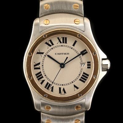 Cartier Santos Ronde 18K Gold and Stainless Steel Quartz Wristwatch