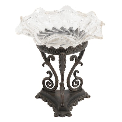 Compote with Glass Dish and Metal Stand