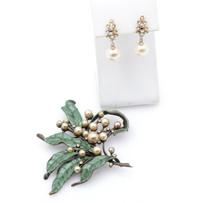 Costume Pearl and Rhinestone Earrings and Brooch, Vintage