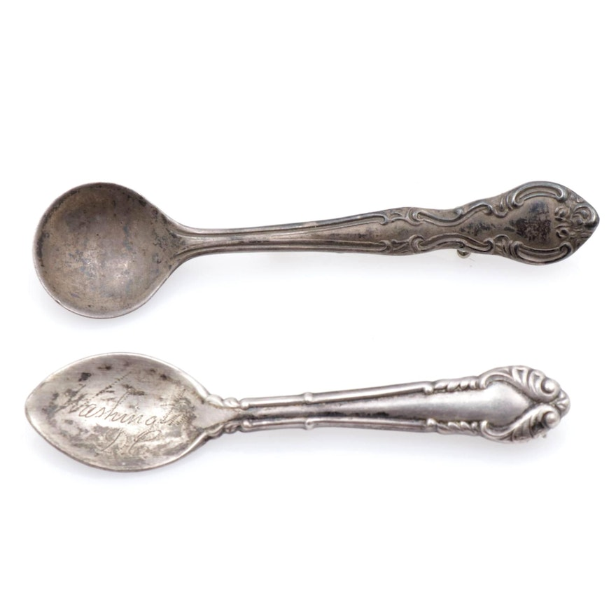 Sterling Silver Spoon Brooches, Antique