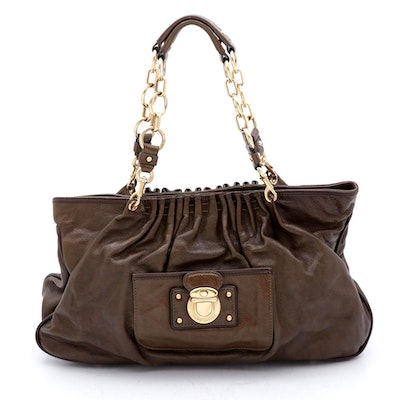 Marc Jacobs Brown Leather and Brass Chain Handle