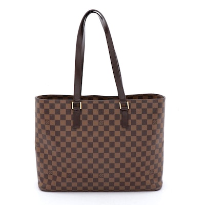 Louis Vuitton Damier Ebene Coated Canvas and Leather Tote