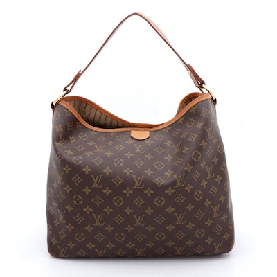 Louis Vuitton Shoulder Delightful MM Monogram Canvas and Leather Bag