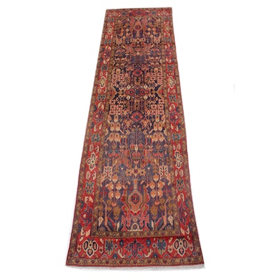 3'8 x 12'4 Hand-Knotted Persian Malayer Wide Runner, 1960s