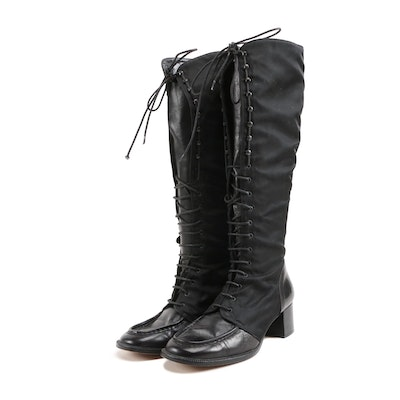 Kellan Studio Textile and Leather Lace-Up Boots in Black