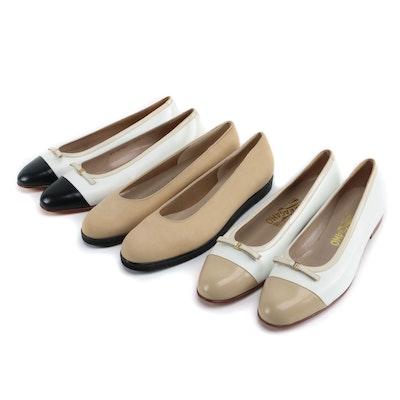 Salvatore Ferragamo Leather and Suede Flats, Including Boutique