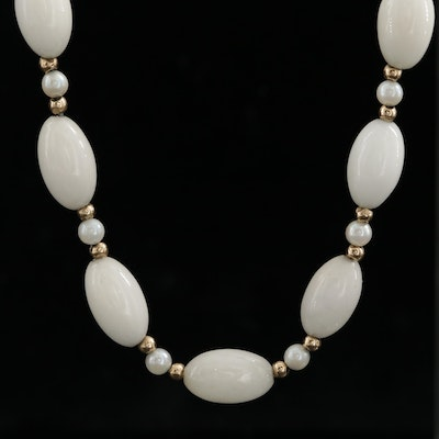 Vintage 14K Yellow Gold, Jadeite and Cultured Pearl Necklace