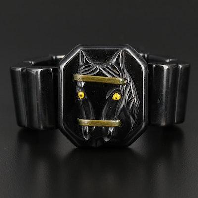 Circa 1930's Black Bakelite and Glass Expandable Horse Head Bracelet