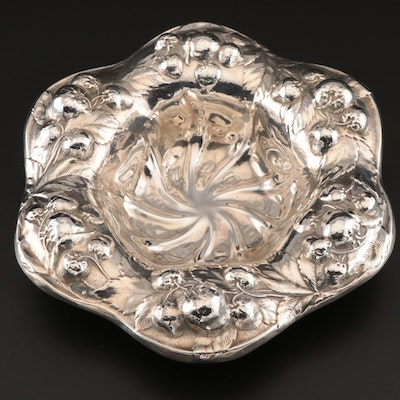 American Art Nouveau Repoussé Sterling Fruit Bowl, Early 20th Century