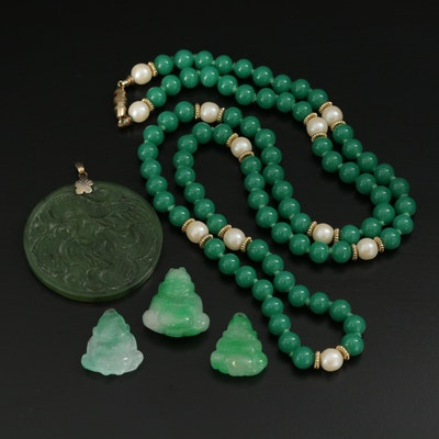 Carved Nephrite Pendant With Jadeite Buddha Pendants and Beaded Necklace