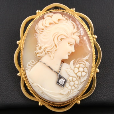 10K Yellow Gold Carved Helmet Shell and Diamond Habillé Cameo Converter Brooch
