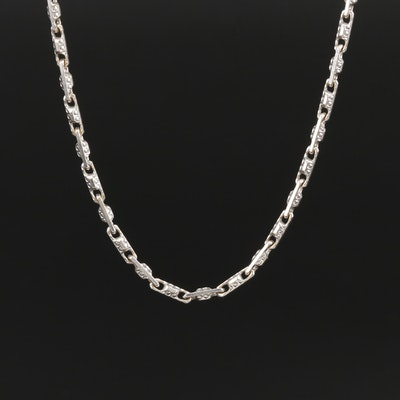 18K White Gold Fancy Link Necklace