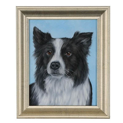 Joseph Veillette Dog Portrait Oil Painting