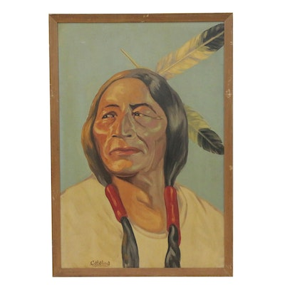Portrait Oil Painting of Native American Brave