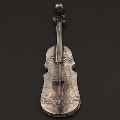 German 800 Silver Violin-Form Trinket Box, Late 19th to Early 20th Century