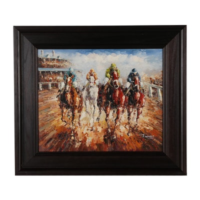 Impressionistic Oil Painting of Horse Race