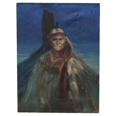 Donald Zolan Portrait Oil Painting of Native American Elder