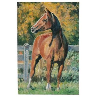 Mario Idkowiak Oil Painting of Horse, 21st Century