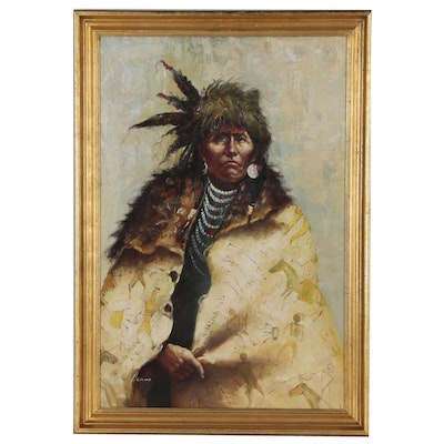 Oil Portrait Painting of Native American