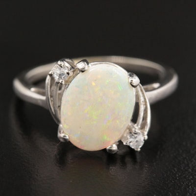 10K White Gold Opal and Spinel Ring