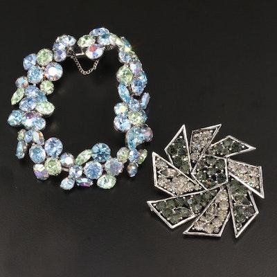 Vintage Weiss Glass Crystal Bracelet and Fan Blade Brooch