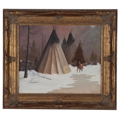 Oil Painting of Winter Scene with Teepees and Horse