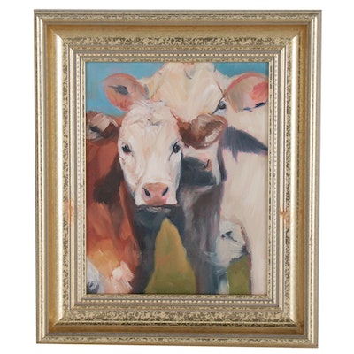 Oil Painting of Cow with Calf