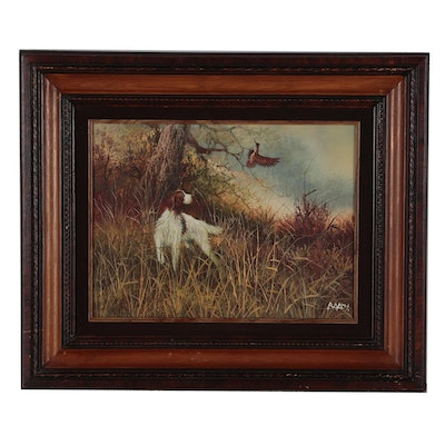 Oil Painting of Hunting Dog in Landscape