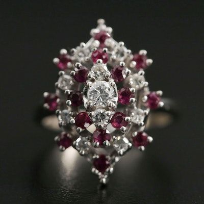 14K White Gold Diamond and Ruby Cluster Ring