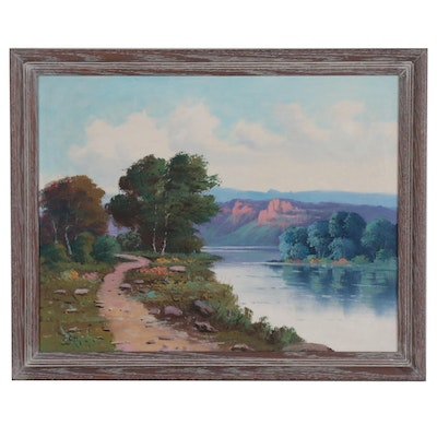 Landscape Oil Painting of Western River Scene