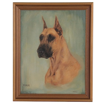 "Oil Portrait Painting of Great Dane Dog ""Minx"""