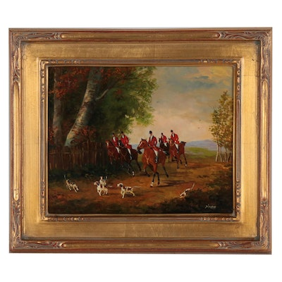 Simon Braun Oil Painting of English Hunt Scene