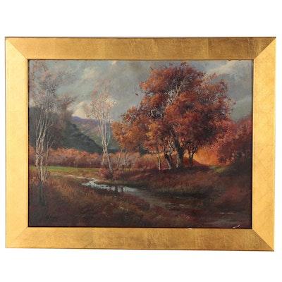 "Glenna Kurz Oil Painting ""Calif River Willows"", 1982"
