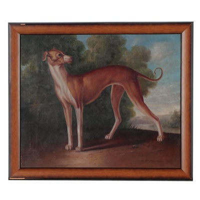 C. Buronson Portrait Oil Painting of Greyhound Dog