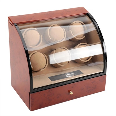 Multiple Watch Winder with High Gloss Burlwood and Black Finish, Contemporary