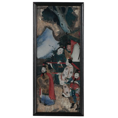 East Asian Reverse Glass Painting