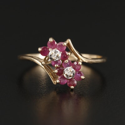 10K Yellow Gold Ruby and Diamond Bypass Ring