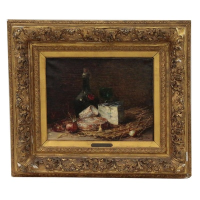 """Hubert Bellis Still Life Oil Painting """"Nature Morte Aux Fromages"""", 19th Century"""