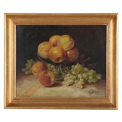 John Clinton Spencer Still Life Oil Painting of Fruit, 1912