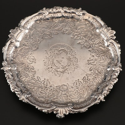 John Robinson II Antique Sterling Silver Footed Salver, 1750