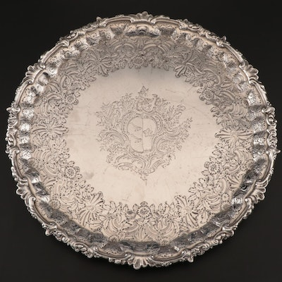 William Peaston Antique Sterling Silver Heraldic Salver, 1750