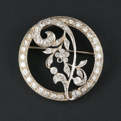 Vintage Platinum and 14K White Gold 1.54 CTW Diamond Brooch