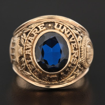 Circa 1967 10K Yellow Gold Spinel University of Delaware Class Ring